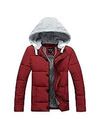 Ellove Fashion Men's Ski Suit Removable Hoodie Casual Outwear Button Jacket Coat