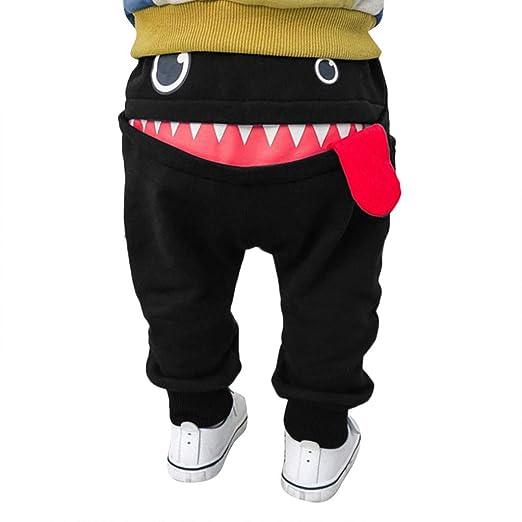 7f764967fe38 Shusuen Unisex Baby Newborn Cute Shark Tongue Cotton Long Shorts Casual  Elastic Harem Pants Black
