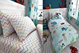 Hendem Under The Sea Duvet Cover Kids Single Quilt Cover Children's Rotary Bedding (Duvet Cover With Fitted Sheet)