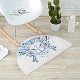 Kabuki Mask Half Round Door mats Fox Mask Kitsune Japan Culture Theme with Triangle Sakura Flowers Bathroom Mat H 47.2'' xD 70.8'' Pale Blue White Beige