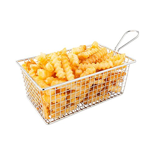 Low Boy Fry Basket, Appetizer Basket - Stainless Steel - 7.9