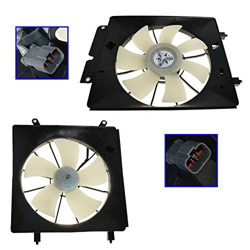 Radiator & AC Condenser Cooling Fan Assembly Pair for 02-06 Honda CR-V CRV (Cooling Motor Fan Side Radiator)