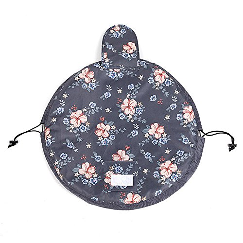 Fashion Cosmetic Bag Large Capacity Lazy Makeup Waterproof Toiletry Bag Multifunction Storage Portable Quick Pack Travel Bag (Dark Grey Flowers) by VOJUAN (Image #3)