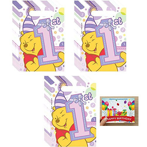 Poohs 1st Birthday Girl Treat Bags Bundle for 24 ()
