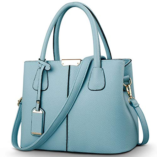 - Covelin Women's Top-handle Cross Body Handbag Middle Size Purse Durable Leather Tote Bag Light Blue