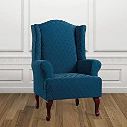 Sure Fit Stretch Grand Marrakesh Slipcover (Nile Blue, Wing Chair)
