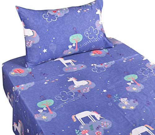J-pinno Unicorn Dreaming Playing Twin Sheet Set for Kids Girl Children,100% Cotton, Flat Sheet + Fitted Sheet + Pillowcase Bedding Set by J-pinno