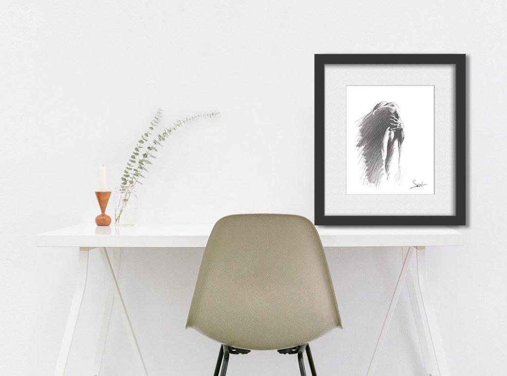 Nude Art Print, Naked Girl, Figurative Art, Figure Drawing, Pencil Drawing, Erotic Art