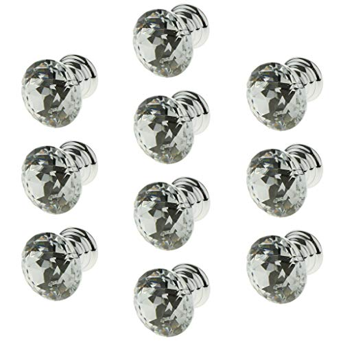 DYNWAVE 10pcs/set Glass Diamond Door Knob Drawer Dresser Pull Handle Cabinet Hardware - Clear, 20mm