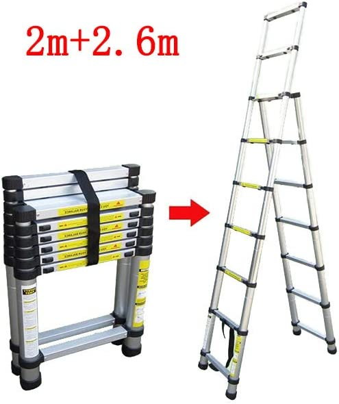 QARYYQ Escalera Plegable Escalera en Espiga Desigual Escalera Interior Escalera portátil telescópica Aleación de Aluminio Grueso Taburete (Size : 3.2m+3.8m): Amazon.es: Electrónica