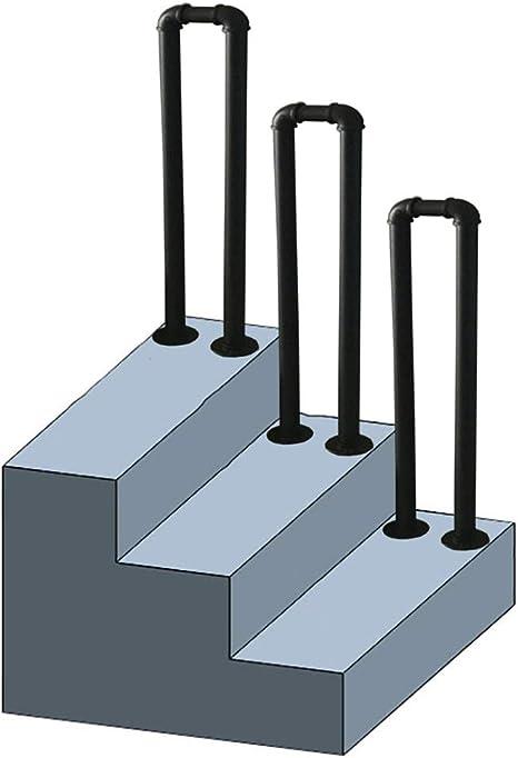 QDY-Pasamanos Barandilla de tubería de Agua en Forma de U de 35-100 cm, Barandilla de Escalera Negra de Hierro Forjado para escaleras Barras Villas Farm House, Fácil instalación: Amazon.es: Hogar