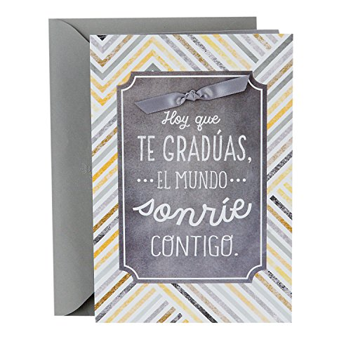Hallmark Vida Spanish Graduation Card (Chevron Stripes, The World Smiles With You) -