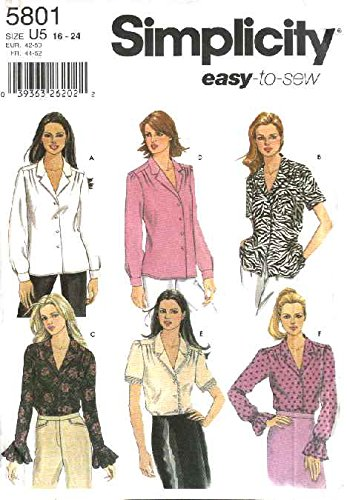 Simplicity 5801 Misses' Blouse with Sleeve Variations Size U5 - Blouse Charmeuse Ruffled