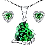 Mabella Sterling Silver Heart Jewelry Sets 7 CTW Simulated Emerald Pendant Earrings Set Gifts for women