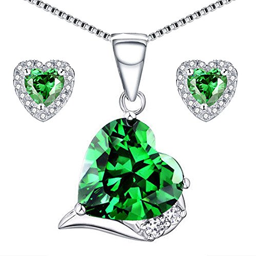 (MABELLA Sterling Silver Heart Jewelry Sets 7 CTW Simulated Emerald Pendant Earrings Set Gifts for Women)