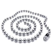 TEMEGO Jewelry Mens Stainless Steel Necklace Classic Bead Ball Chain Necklace, Silver, 4mm, 18-22 inch