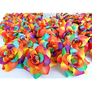 "24 Silk Rainbow Roses Flower Head - 1.75"" - Artificial Flowers Heads Fabric Floral Supplies for Wedding Flowers Accessories DIY Make Bridal Hair Clips Headbands by You. 108"