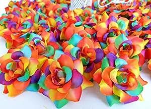24 Silk Rainbow Roses Flower Head