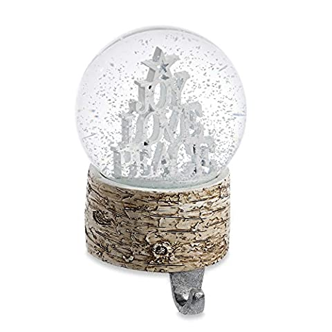 Winter Wonderland Joy Love Peace Snow Globe Stocking Hanger - Joy Stocking