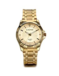 JewelryW Birthday Gift Men's Gold Stainless Steel Watch with Golden Dial