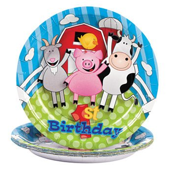 Farm 1st Birthday Dessert Plates - Theme Parties & Animals by Fun Express