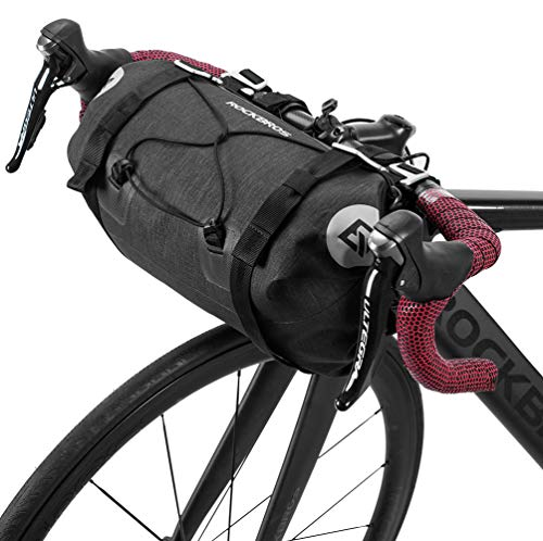 ROCK BROS Bikepacking Bike Handlebar Bag Waterproof Large Dry Pack Bicycle Front Bag Roll for MTB Mountain Road Drop-bar Bikes Bar