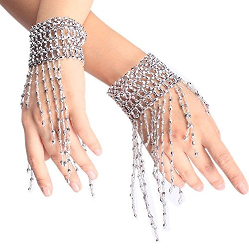 [Ewandastore Belly Dance Tassel Wrist Ankle Arm Cuffs Bracelets Wristband Gypsy Jewelry,Halloween Costume Accessory(Silver)] (Dance Costumes For Teams)