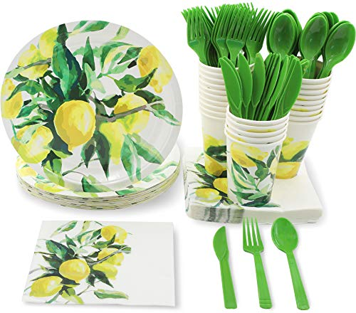 Blue Panda Lemon Garden Party Supplies for Bridal Showers & Birthdays - Plates, Knives, Spoons, Forks, Napkins, and Cups, Serves 24 from Blue Panda
