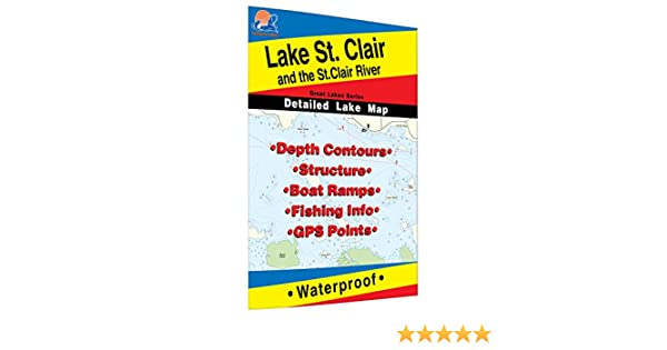 St  Clair/St  Clair River Fishing Map, Lake (MI/ONT)