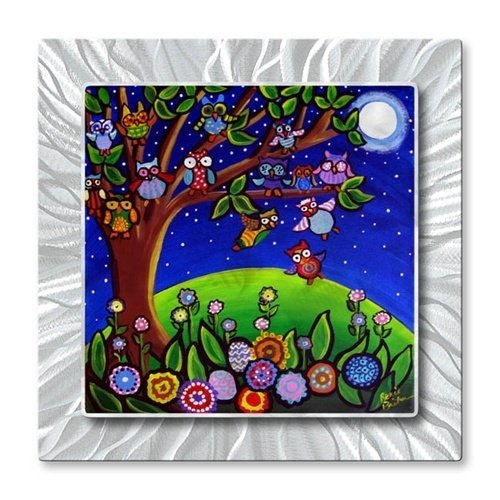 Metal Wall Hanging Sculpture Art Whimsical Tree Owls