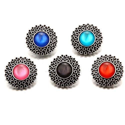 Snap Button Jewelry   Metal Round Opal Snap Buttons   Fit 18mm/20mm Snap Bracelet Buttons Jewelry (20pcs)