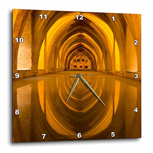 3dRose Danita Delimont - Architecture - Spain, Andalusia, Seville, Alcazar. Repeating arches of the baths - 10x10 Wall Clock (dpp_277898_1) by 3dRose