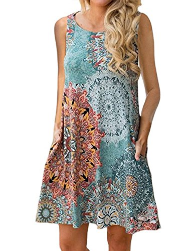 Buauty Women's Summer Sleeveless Floral Print Comfy Tunic Tank Top Dress with Pocket ()