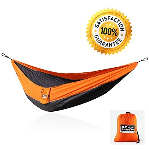BC Supply & Outdoors Double Size Portable Camping Hammock with Triple Stitched Military Grade Nylon Parachute and  Metal Carabiners, Orange/Grey
