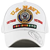 THE HAT DEPOT Official Licensed U.S. Military Vietnam Veteran Ribbon Cap (White-U.S. Navy)