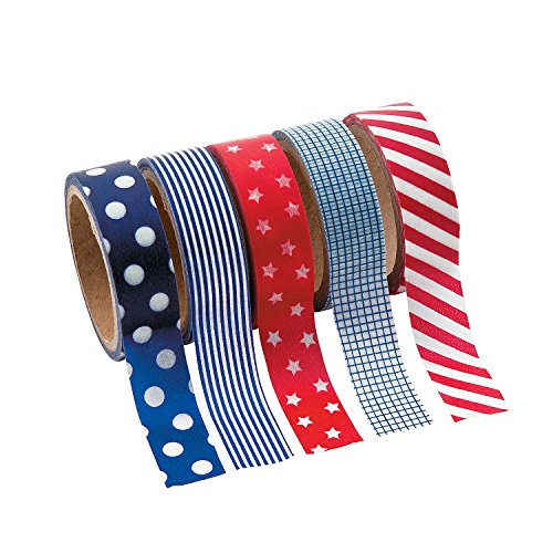 Patriotic Washi Tape Set (5 Rolls Per Unit) Each Roll Includes 16 Ft.