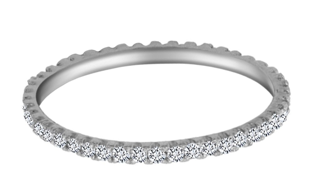 AFFY White Natural Diamond Eternity Stackable Wedding Ring in 14k White Gold Over Sterling Silver (0.20 Cttw)