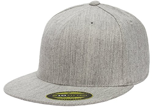 (Flexfit/Yupoong Men's 210 Fitted Flat Bill Cap, Heather, Large/Extra Large)