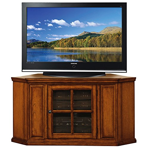 Leick Riley Holliday Corner TV Stand, 46-Inch, Burnished Wood Oak (Tv Corner Unit Wood)