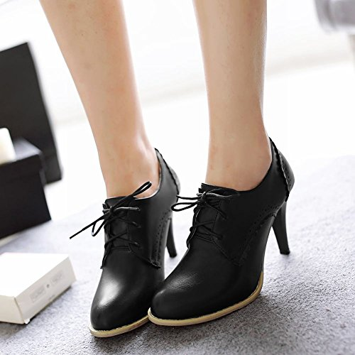 Boots Women's Black High Show Ankle Fashion Shine Heel FB1qUYx