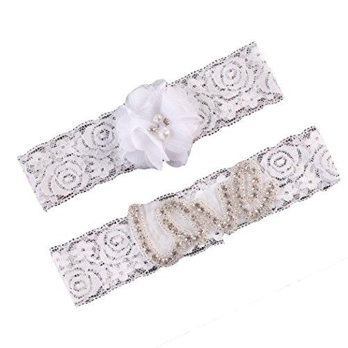 Wedding Brides Garter Belt Lace Leg Ring Crystal Garters Set JW24 (2-Love White ()