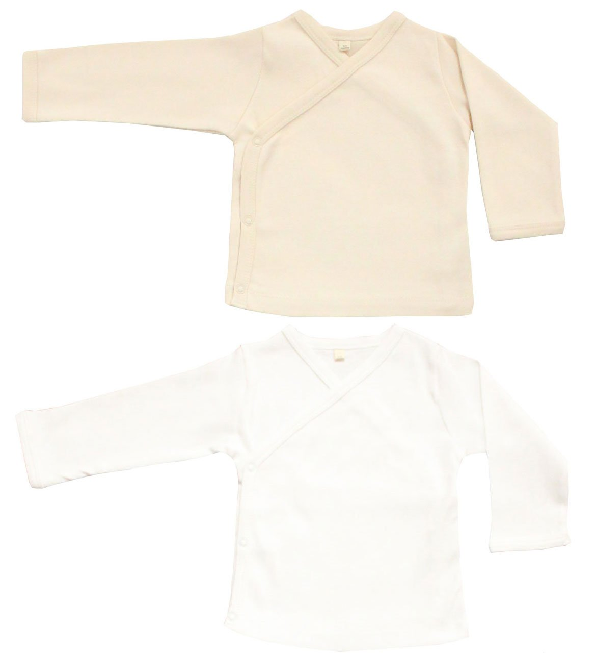 Maple Clothing Organic Cotton Baby Kimono GOTS Certified (2 Pack, White/Natural, 3-6m)