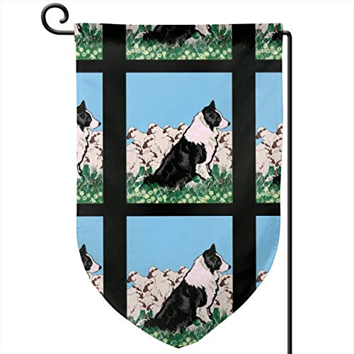 smartgood Border Collie and Sheep Fabric_4167 Sweet Home Garden Flag Vertical Double Sided Decorative Spring Summer Yard Outdoor Decorative 12 x 18 Inch