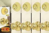 NuSet Contractor Combo Lockset, 4 Sets of Keyed Entry Door Lock with Single Cylinder Deadbolt, Same Key, Polish Brass