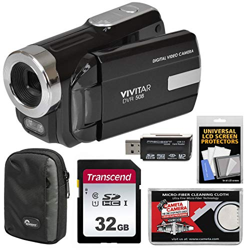 Vivitar DVR-508 HD Digital Video Camera Camcorder (Black) with 32GB Card + Case + Kit