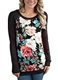 HOTAPEI Women Casual Floral Print Long Sleeve T Shirt Round Neck Blouse Tops Black Small