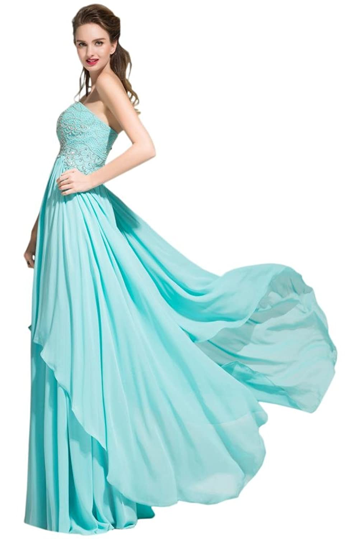 Sunvary Elegant Sweetheart Chiffon Women Pageant Prom Dresses Two Layered Ruffled