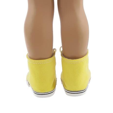 Ropa Fashion Muñecas Zapatillas de Deporte Amarillas Lona Durante Americana Girl 18 Pulgadas