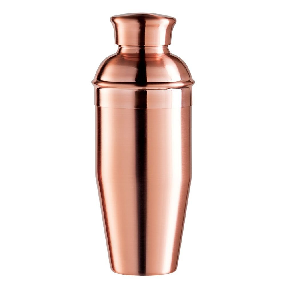 Oggi Plated Mirror Finish Stainless Steel Cocktail Shaker, 0.75 L/26 oz, Copper