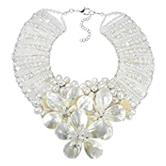 Artisan Naree from Thailand handcrafted this stunning statement necklace. This enchanting necklace features a floral garland centerpiece made of white mother of pearl, cultured freshwater white pearls, fashion crystal and fashion beads. The c...